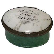 "18th C. English Battersea Bilston Enamel Patch Box ""Remember the Giver"""