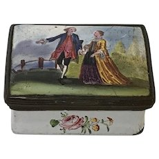 "18th C. English Battersea Bilston Enamel Patch Box ""Romantic Couple"""