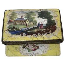 "18th C. English Battersea Bilston Enamel Patch Box ""Romantic Couple"""
