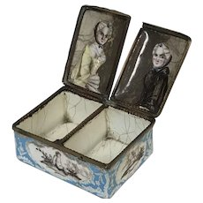 "Rare 18th C. English Battersea Bilston Enamel Double Patch Box ""Twin Sisters"""