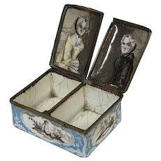 "Rare 18th C. English Battersea Bilston Enamel Double Patch Box ""Twin Sisters"""