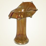 "Vintage Marigold Iridescent Carnival Glass ""Jack in the Pulpit"" Whimsy Vase"