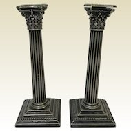 Gorham Neo-classic Doric Corinthian Column Candle Sticks Silverplate 8""