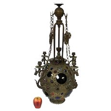 Antique Indian or Moroccan Jeweled Brass Ceiling Light Chandelier