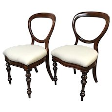 Pair of Antique Victorian Mahogany Balloon Back Side Accent Chairs W/ Paisley