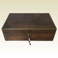 Antique Rosewood Brass Bond Valuable Captain Writing Lap Desk Box