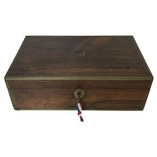 Antique Rosewood Brass Bond Valuable Captain Writing Lap Desk Box