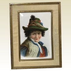 Vintage Hand Painted Porcelain Plaque of Young European Boy in Green Hat