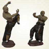 Pair of Vintage Chinese Mud Man Figurine of Marshall Artist kung fu