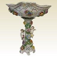"Carl Thieme Dresden Porcelain 15"" Tall Center Bowl Compote W/ Open Work & Puttis"