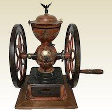 Large Antique Cast Iron Enterprise Double Wheel Coffee Grinder Original
