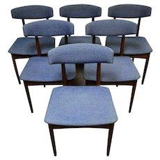 Set of 6 Mid Century Modern Dark Stain Teak Dinning Room Chairs