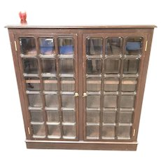 Vintage 30 Pane Beveled Glass 2 Door Bookcase