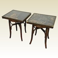 Pair of Upcycled Side Tables - Bent Wood Legs, Wooden Print Maker Letter Top