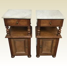 Pair of French Louis XIII Style Oak Marble Top Side Tables