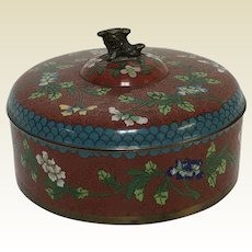 Vintage Chinese Cloisonne Round Covered Box