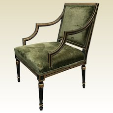 Kindel Grand Rapids English Regency Style Armchair Bergere Chair Green Velvet