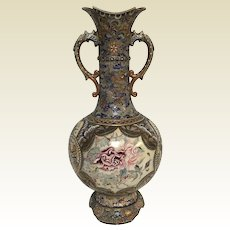 """Antique Large Japanese Moriage Vase With Flower & Dragon Decoration 22"""" Tall"""