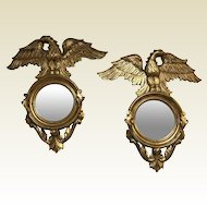 Pair of Carved, Gessoed and Gilded Eagle Figure Mirrors