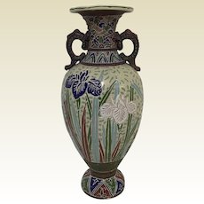 """Antique Large Japanese Moriage Vase With Flowers & People Decoration 18"""" Tall"""