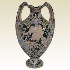 """Antique Large Japanese Moriage Vase With Flowers Decoration 17"""" Tall"""