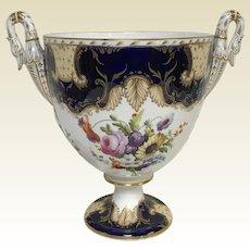 Fine Antique English Porcelain Urn Vase W/ Cobalt Blue Gold Hand Painted Flowers