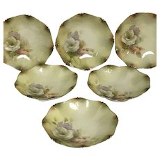Set of 6 RS Prussia Fruit Berry Bowls with Flower Decoration