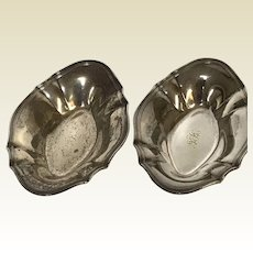 Pair of Tiffany Sterling Shallow Miniature Nut Dish Bowl
