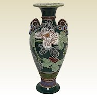 "Antique Japanese Moriage Vase With Flowers Decoration 9.5"" Tall"