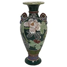 """Antique Japanese Moriage Vase With Flowers Decoration 9.5"""" Tall"""