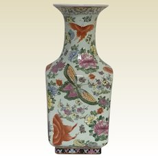 Large Vintage Decorative Chinese Porcelain Vase With Butterfly & Flower Decoration