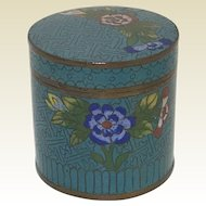 Vintage Chinese Round Covered Cloisonne Box Blue Field With Flower Decoration
