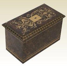 Antique Burl Inlaid Playing Card Box Case