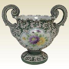 Antique Japanese Meiji Period Nippon Moriage Planter Urn Vase