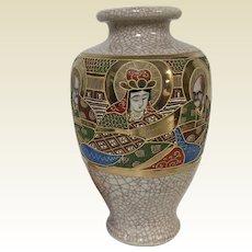 Antique Japanese Moriage Satsuma Celadon Vase