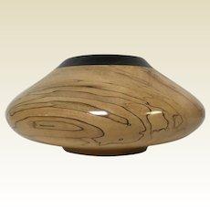 Beautiful Sugar Maple Rosewood Burl Wood Hand Turned Bowl Signed Dated 1996