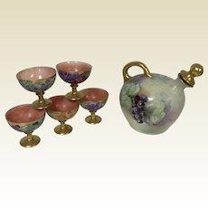 Austrian Porcelain Hand Painted Wine Decanter & 5 Porcelain Goblets