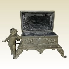 Victorian French Rose Putti Decorated Cascade Footed Trinket Art Nouveau Box