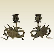 Pair of French Dragon Griffin Brass Candlesticks