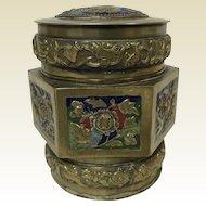 Vintage Chinese Champleve Brass Covered Round Box W/ Bat Goldfish Decoration