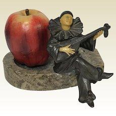 French Bronze Seated Jester Playing Mandolin Figure Ashtray