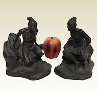 Jennings Brothers Native American With Pointer Dog Bronze Bookends