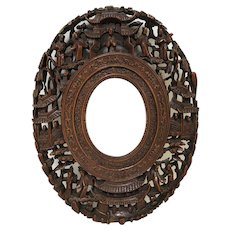 antique oval picture frames. Rare Small Vintage Carved Wooden Oval Chinese Picture Frame Fine Details Antique Frames S