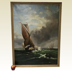 Large 19th Century Continental Oil on Canvas of Sailing Ships Boats Ocean 1885