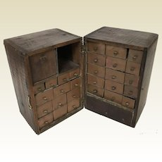 Charming Hand Made Primitive Jewelry Apothecary Cabinet W 29 Drawers Advertising