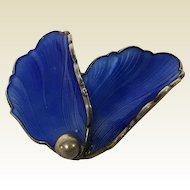 Vintage Norway Sterling Cobalt Blue Flower Petals Enamel Pin Brooch