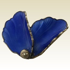 Vintage Norway Sterling Cobalt Blue Flower Petals Enamel Pin Brooch