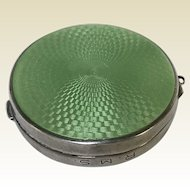 Vintage Sterling Silver Green Guilloche Enamel Compact