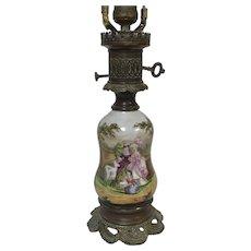 Antique French Old Paris Porcelain Electrified Oil Lamp