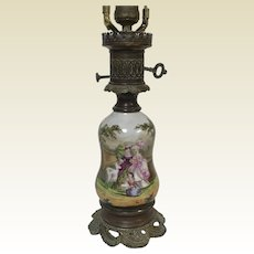 Antique French Old Paris Porcelain Electrified Oil Lamp
